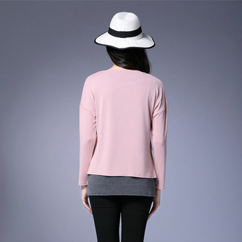 2017 Spring Women Plus Size Clothing T-shirt Fashion O-neck Long Sleeve False Two Pieces Bottom Shirt Tops L-5XL Pink