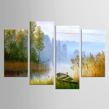 4 piece Painting Canvas Painting Landscape Boat In The River Canvas Art Home Decoration Scenery Picture Decor