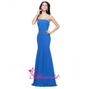 Alexzendra Blue Strapless Crystal Belt Mermaid Bridesmaid Dresses Party Dress for Wedding