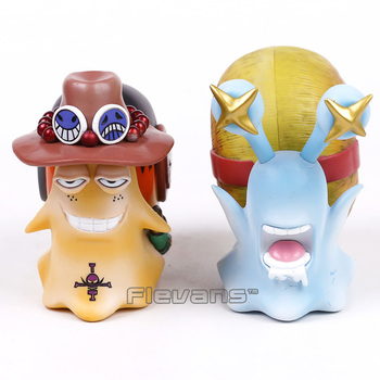 Anime One Piece Luffy & Ace Den Den Mushi Telephone PVC Figures Toys 2pcs/set 11cm
