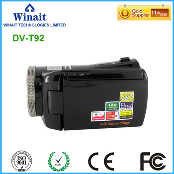 Dual solar charging digital video camera HDV-T92 720p hd 30fps HDMI out face and smile detection video camcorder