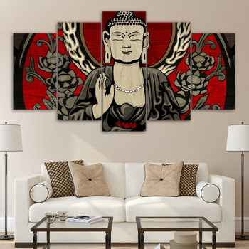 Framed 5 Panels Picture Buddha series HD Canvas Print Painting Artwork Wall Art Canvas painting Wholesale/11Y-ZT-9
