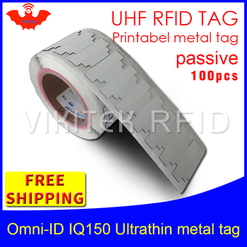 UHF RFID ultrathin metal tag omni-ID IQ150 915m 868mhz Impinj MR6 EPC 100pcs printable synthetic passive RFID tag